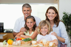 family eating sandwich