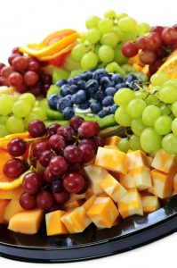tray of fruit and cheese