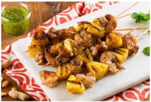Indian-Spiced Shrimp Kebobs with Peanut Coconut Pesto Recipe