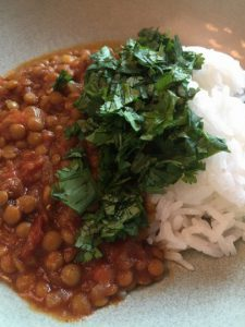 dish of red curry crockpot lentils