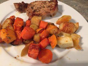 pork apple sweet potato carrot bake