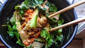 rice noodle bowl with chicken