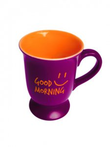 purple mug, with Good Morning written on it