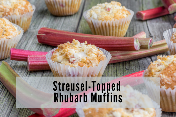 Crunchy sugar topped muffins in white liners placed among stalks of rhubarb