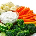tray of fresh vegetables and dip