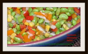Rainbow edamame salad