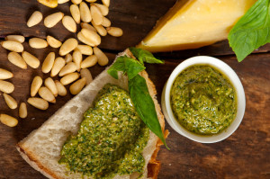 cheese, pesto, nuts display