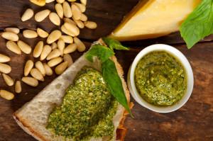 cheese, pesto, nuts display