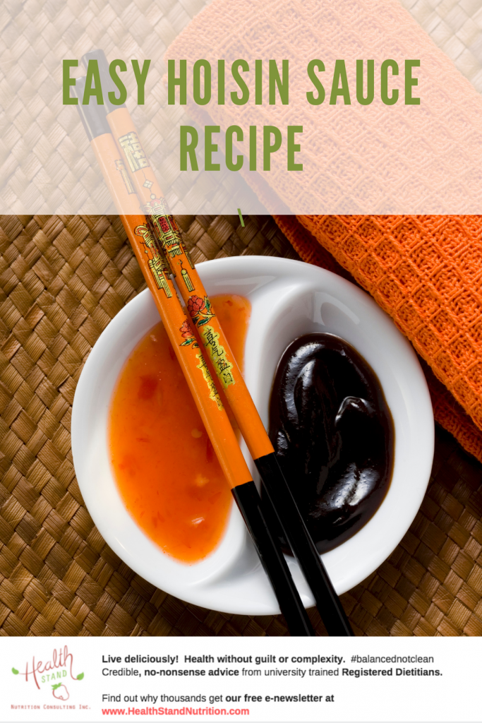 pinterest image of whilte yin yang dipping bowl with sweet chili sauce on one side and hoisin sauce on the other. a pair of orange and black chopsticks are laid over the bowl