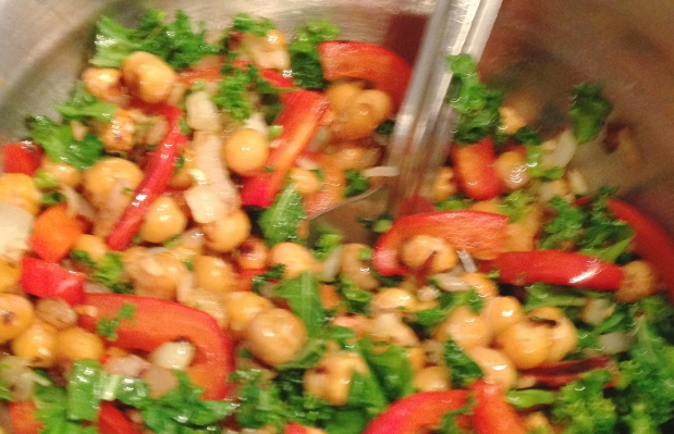 Grilled Chickpeas Kale & Red Peppers