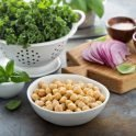 Vegetarian Recipe for the grill: chickpeas, kale and red peppers recipe