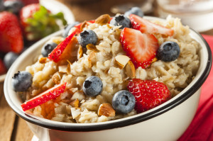 Oatmeal bowl with strawberries and blueberries