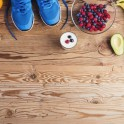 running shoes and fruit