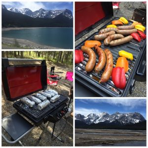 camping scenery, bbq with peppers and smokies