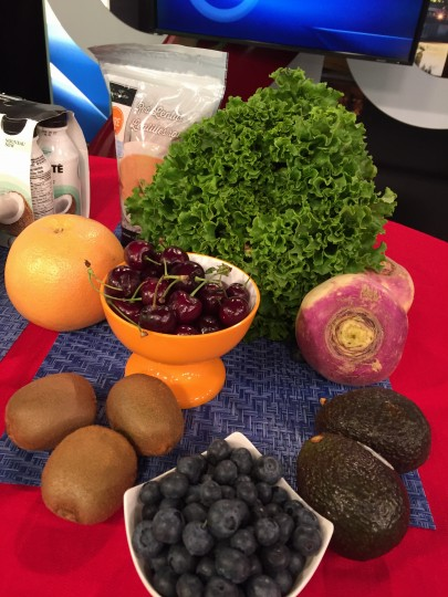 grapefruit, blueberries, cherries, kiwi, lentils