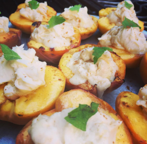 Grilled mascarpone peaches
