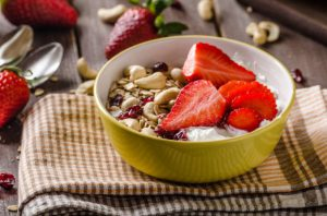 Breakfast bowl of fruit and yogurt
