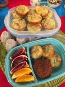 Egg muffins and fruit to go