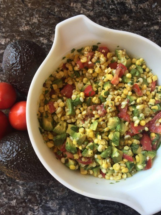 Dietitian recipe for fire roasted corn avocado salsa