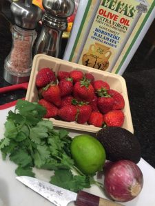 ingredients for strawberry avocado salsa