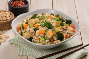 Tofu Vegetable and peanut stir fried rice