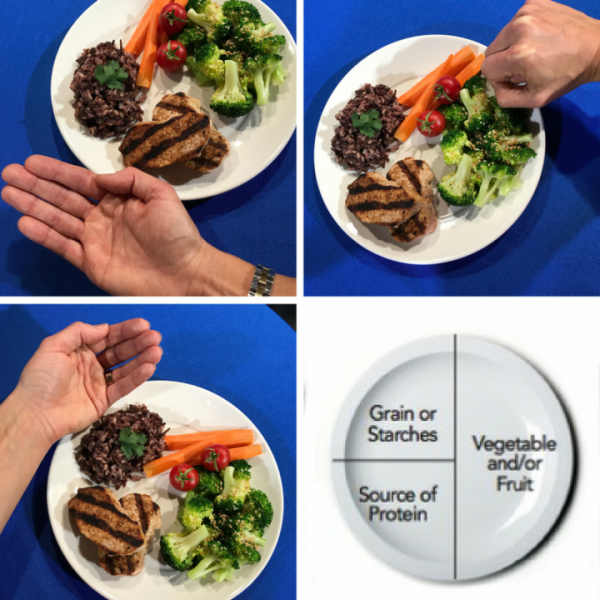 how to measure portions by plate or by hand