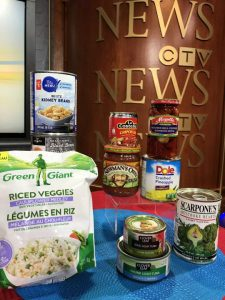 frozen vegetables, canned vegetables and pulses, canned fruit and fish