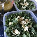 Kale salad with toasted almonds and lemon vinaigrette