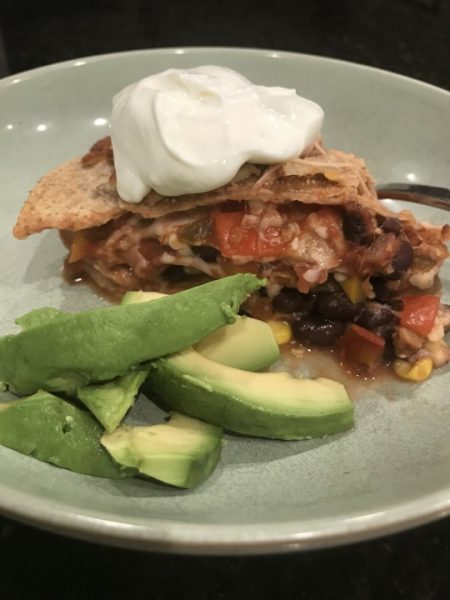 black bean tortilla stack