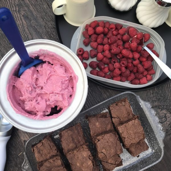 frozen yogurt with brownies