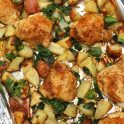 sheet pan lemon chicken with potatoes and spinach