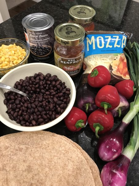 Ingredients for mexican vegetarian pie