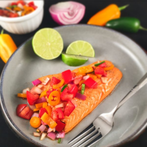 healthy recipe for grilled fish served with fresh salsa