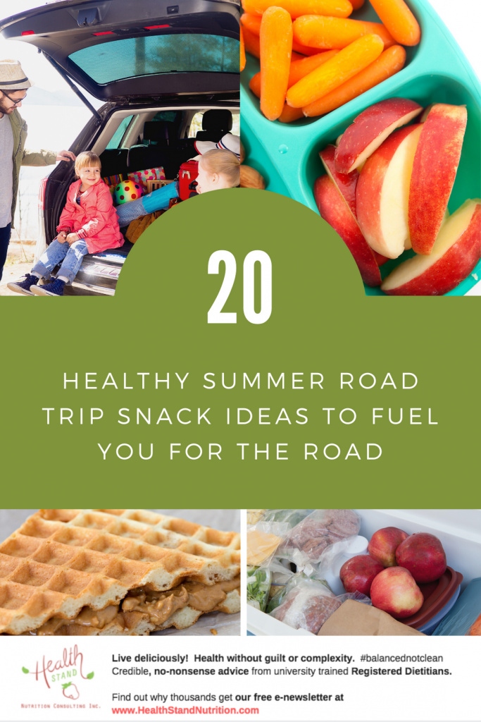 a collage of healthy road trip snacks including a cooler packed with fruit crackers and cheese, a bento with berries and grapies and a wafle sandwich with peanut but