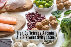 iron rich foods such as beans mushrooms walnuts and brussels sprouts on a white backdrop