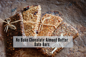 chocolate almond butter date bars tied with ribbon