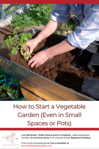 image of a woman in a white shirt with sleeves rolled up transplanting seedings into a raised garden bed