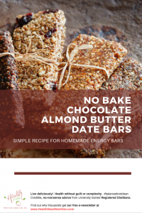 no bake chocolate almond butter date bars image