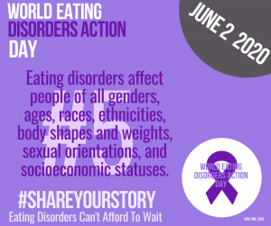 Image with text for world eating disorder day with purple ribbon