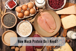 various sources of protein on display including chicken, beef, eggs, oats, milk