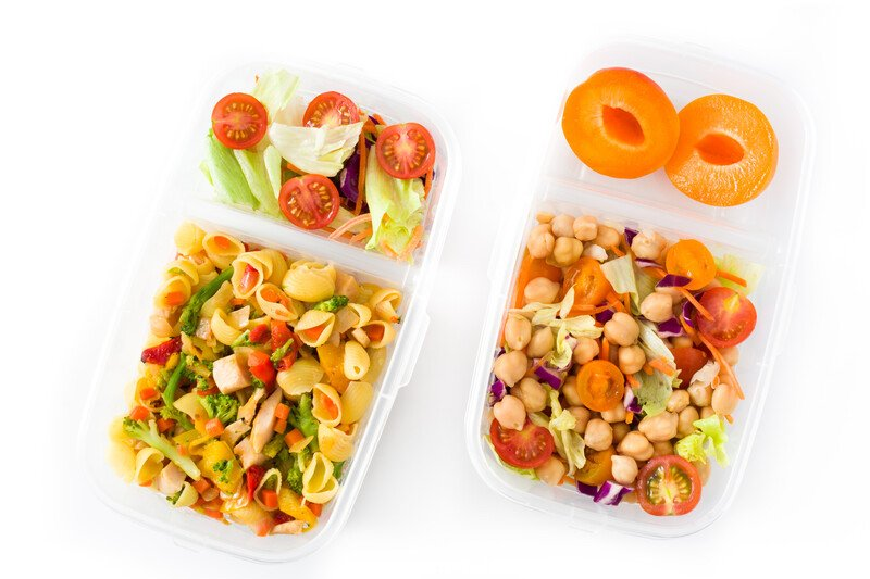 pasta salad and fruit and bento lunch boxes