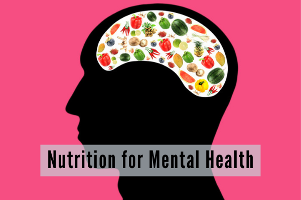 silhouette of a human head with small images of different foods where the brain would be