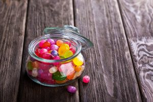 glass jar of jellybeans