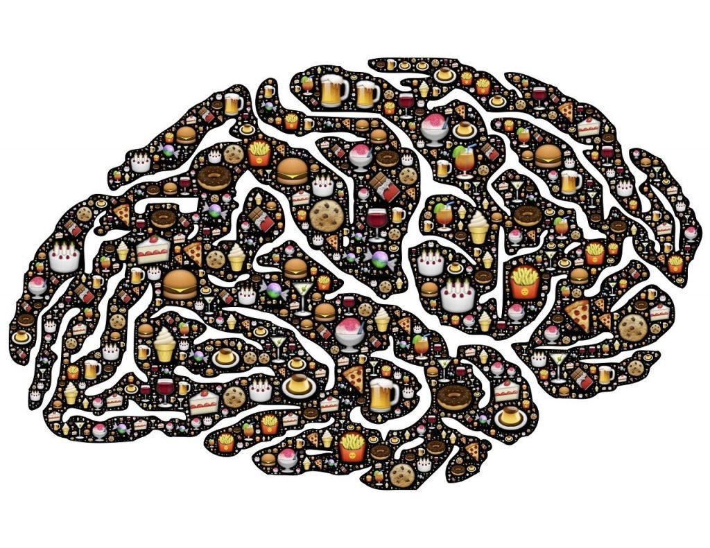 shape of the human brain with food images in all of the different lobes