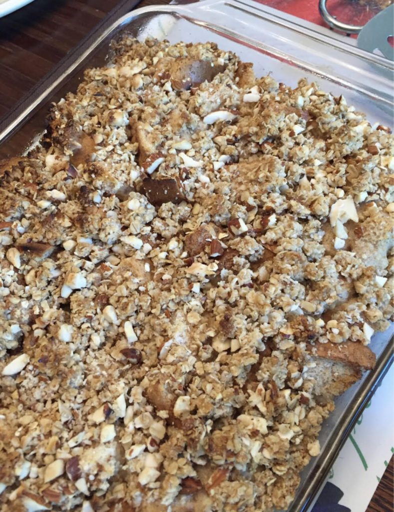 streusel topped french toast bake in a casserole dish