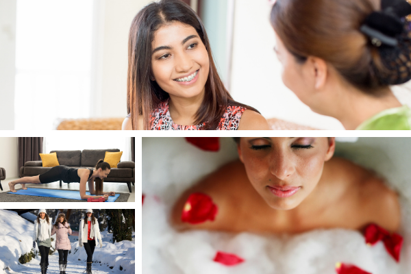 collage of self care activities including talking with a friend, yoga, bubble bath and walking outside
