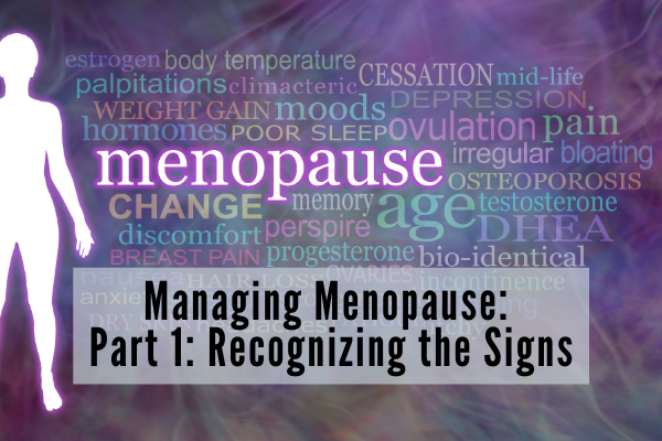 A purple background with a silhouette of a woman in pink and a word cloud with the word Menopause emphasized. The