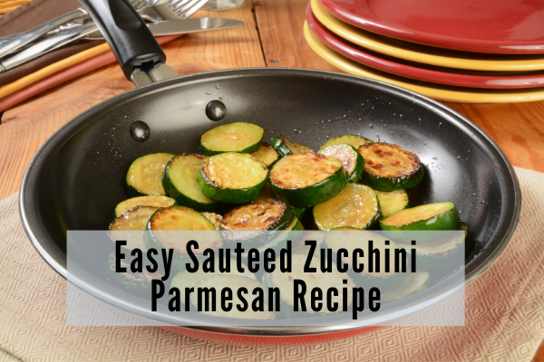a non stick skillet containing browned zucchini sliced in half inch rounds