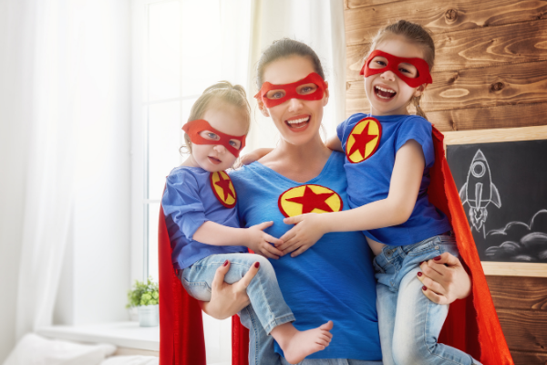 super mom and her kids