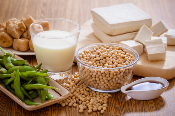 Soy based foods including soy milk, tofu and soybeans